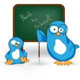 School chalkboard with birds teacher and student Stock Photo
