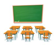 School chalkboard and desks. Empty blackboard, classroom wooden desk and chair isolated cartoon vector illustration. School chalkboard and desks. Empty stock illustration
