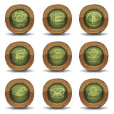 School Chalkboard Icons For Ui Game. Illustration of a set of design school education icons and buttons for ui pedagogics software on tablet pc Royalty Free Stock Images