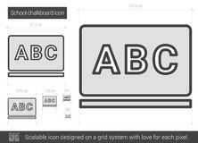School chalkboard line icon. School chalkboard vector line icon isolated on white background. School chalkboard line icon for infographic, website or app vector illustration