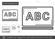 School chalkboard line icon. School chalkboard vector line icon isolated on white background. School chalkboard line icon for infographic, website or app Stock Image
