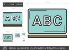 School chalkboard line icon. School chalkboard vector line icon isolated on white background. School chalkboard line icon for infographic, website or app stock illustration