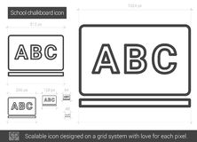 School chalkboard line icon. Royalty Free Stock Image