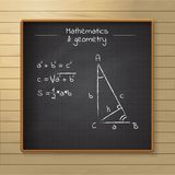 School chalkboard on the wooden background Stock Photos