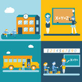 School character scenes concept icons set modern trendy flat vector illustration Stock Photo