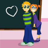 School characters fall in love Royalty Free Stock Photography