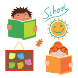 School characters set Royalty Free Stock Photo