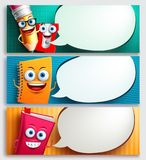 School characters vector banner set with speech bubbles, education items Stock Image