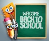 School characters vector illustration set. Education items 3D cartoon mascots Royalty Free Stock Image