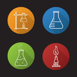 School chemical laboratory. Flat linear long shadow icons set. Chemical reaction, lab burner, ring stand, flask with liquid. Vector line symbols Royalty Free Stock Photo