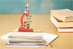 School. Chemistry experiment microscopy medical tool concept Stock Photo
