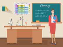 School Chemistry female teacher in audience class concept. Vector illustration. Stock Photos