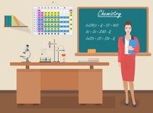 School Chemistry female teacher in audience class concept. Vector illustration. Stock Photos