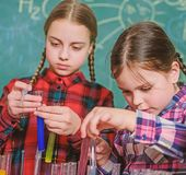 School chemistry laboratory. back to school. Educational concept. Pupils in the chemistry class. happy children royalty free stock photography