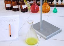 School chemistry laboratory desk Stock Image
