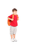 School child with a backpack posing Royalty Free Stock Photo