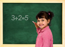 School child and board Royalty Free Stock Photo