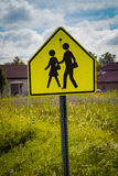 School child crossing warning sign Royalty Free Stock Images