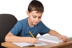 School child doing homework Stock Image
