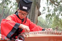 A school child, dressed in the Chinese traditional costume – Hanfu clothing, plays Chinese traditional musical instrument Zheng. stock images