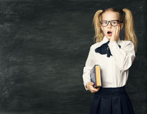 School Child Girl Amazed Face over Blackboard, Surprised Kid