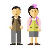 School child girl and boy vector flat illustration Stock Photo