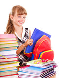 School Child Holding Stack Of Books. Stock Photos