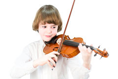 School child playing violin Stock Image