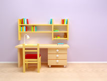 School child room. Desk with lamp and book shelves Royalty Free Stock Photos