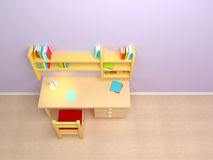 School child room. Desk with lamp and book shelves Stock Photography