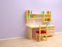 School child room. Desk with lamp and book shelves Royalty Free Stock Images