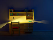School child room evening. Desk with lamp and book shelves Royalty Free Stock Images