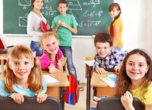 School child with teacher. Royalty Free Stock Photo