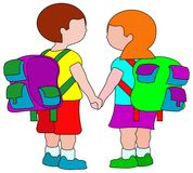 School children. Back to school cartoon illustration royalty free illustration