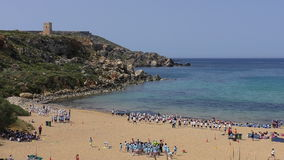 School children activities on the beach stock video footage