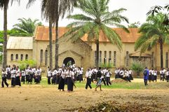 School children in africa outside church Royalty Free Stock Image