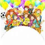 School children and Back to school background for celebration watercolor illustration Royalty Free Stock Photography