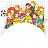 School children and Back to school background for celebration watercolor illustration Royalty Free Stock Photo