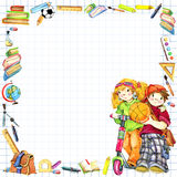 School children and Back to school background for celebration watercolor illustration Stock Photo