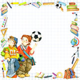 School children and Back to school background for celebration watercolor illustration Royalty Free Stock Images