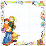 School children and Back to school background for celebration watercolor illustration Stock Images