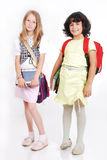 School children with bags and books isolated stock photography