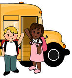 School children and bus. Illustration of two children waving hello getting ready to board school bus stock illustration