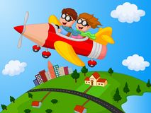School Children cartoon Enjoying airplane pencil Stock Images