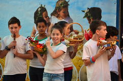 School children celebrating Shavuot (Pentecost) Royalty Free Stock Images