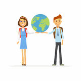 School Children - characters of happy boy, girl holding a globe Royalty Free Stock Photography