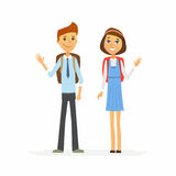School Children - characters of happy boy and girl Stock Photo