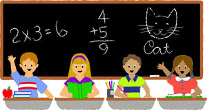School Children Classroom/ai. Illustration of a group of school kids seated at their desks in a classroom...ai file available Stock Photos
