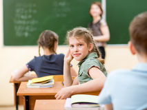 School children in classroom at lesson Royalty Free Stock Photo