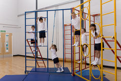 School children climbing gymnasium climbing equipment Stock Image